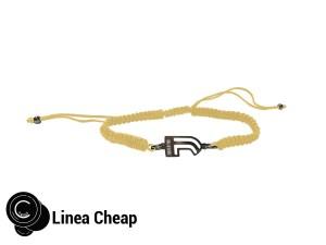 bracciale in corda giallo e j in acciaio