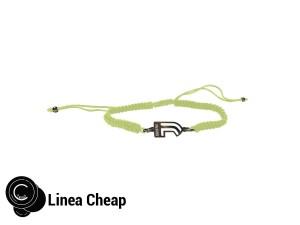 bracciale in corda verde e j in acciaio